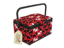 Medium Sewing Box - Black and White Scotties on Red GB1170