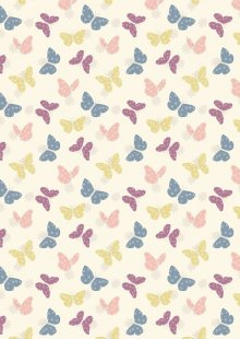 Lewis & Irene - Bunny Garden A149-1 Butterflies on white