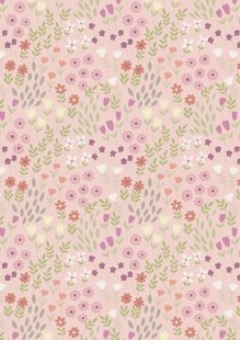 Lewis & Irene - Bunny Garden A147-2 Pretty flowers on pink