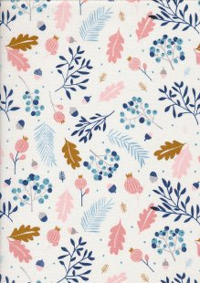 Andover Fabrics Forest Talk By Cathy Nordstrom - Pine White Blue A8486-BL