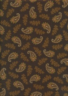 Andover Fabrics By Kathy Hall & Margo Krager - Small Gold Paisley Brown