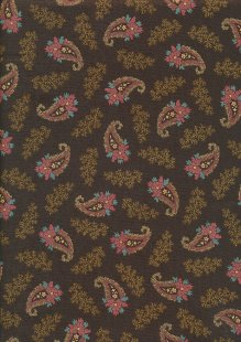 Andover Fabrics By Kathy Hall & Margo Krager - Small Pink Paisley Brown