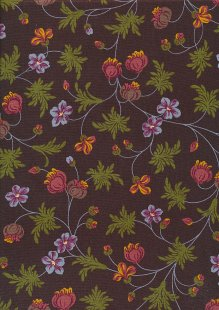 Andover Fabrics By Kathy Hall & Margo Krager - Colourful Floral Spread Brown