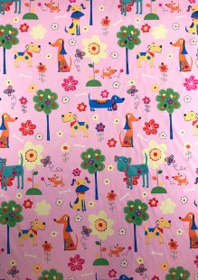 Chatham Glyn - Blackout Curtain Fabric Dogs Pink