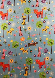 Chatham Glyn - Blackout Curtain Fabric Dogs Blue