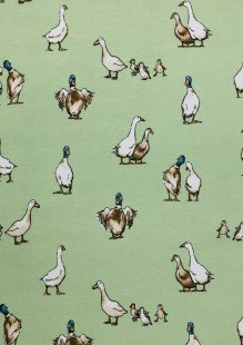 Chatham Glyn - Linen Look Popart Classic Ducks  Green