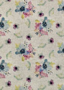 Chatham Glyn - Linen Look Popart Digital Print Blue, Pink, Yellow Flowers