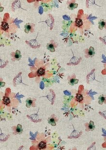 Chatham Glyn - Linen Look Popart Digital Print Coral, Blue, Green Flowers