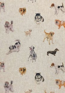 Chatham Glyn - Linen Look Popart Digital Print Dogs Galore