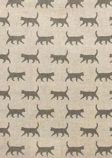 Chatham Glyn - Linen Look Popart Linen Grey Cats
