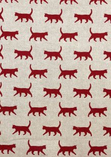 Chatham Glyn - Linen Look Popart Linen Red Cats