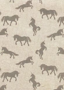 Chatham Glyn - Linen Look Popart Linen Grey Unicorns