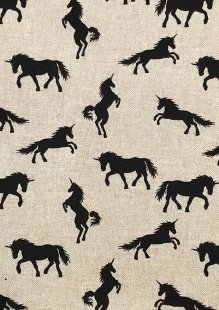 Chatham Glyn - Linen Look Popart Linen Black Unicorns