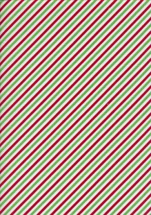 Christmas - Red, Cream & Green Stripes