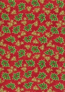 Christmas - Red With Green Holly & Missletoe