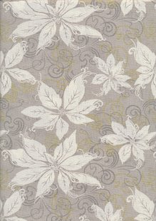 Christmas - Taupe With White Flowers
