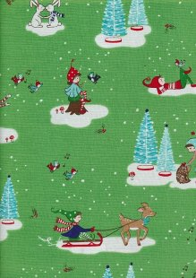 Christmas - Green With Outdoor Chrismas Scenes