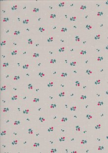 Cotton Poplin - Ditsy Rose On Grey