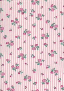 Cotton Poplin - Ditsy Rose On Pink Stripe