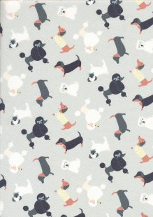 Quality Cotton Print - Poodles On Grey