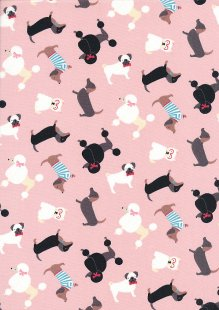 Quality Cotton Print - Poodles On Pink