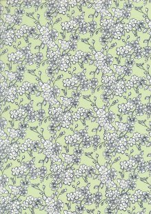 Quality Cotton Print - Flower Burst On Green
