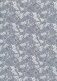 Quality Cotton Print - Flower Burst On Grey