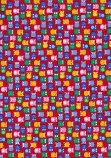 Cotton Print - 88602 Owls On Red