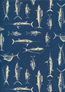 Cotton Print - 88611 Fish On Blue