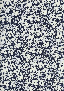 Cotton Print - 88493 Cream Floral On Navy