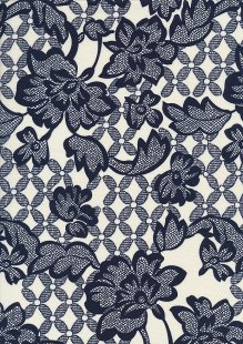 Cotton Print - 88681 Navy Floral On Cream