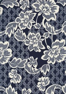 Cotton Print - 88682 Cream Floral On Navy