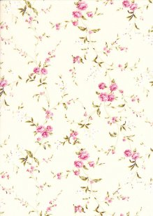 Quality Cotton Print - Floral 19 on pale yellow