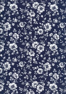 Rose & Hubble - Quality Cotton Print CP-0742 Navy/Ivory