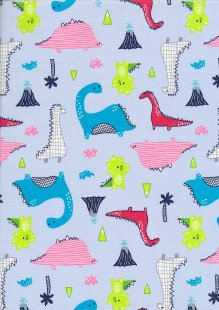 Rose & Hubble - Quality Cotton Print CP-0789 Blue Dinosaurs