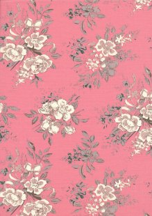Quality Cotton Print - Large Roses Pink