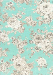 Quality Cotton Print - Large Roses Turquoise