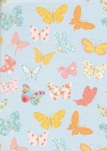 Quality Cotton Print - Butterfly Blue Butterflies