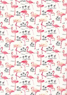 Rose & Hubble - Quality Cotton Print CP-0480 Ivory Flamingos