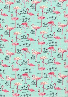 Rose & Hubble - Quality Cotton Print CP-0480 Green Flamingos