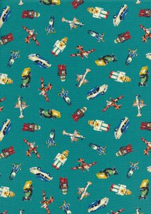 Quality Cotton Print - Rockets, Planes, Robots & Cars Teal