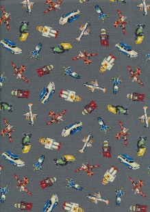 Quality Cotton Print - Rockets, Planes, Robots & Cars Grey