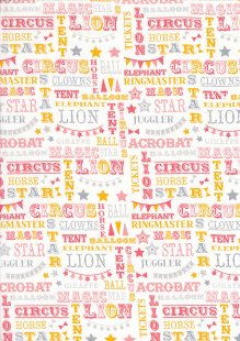 Craft Cotton Co - Carnival Circus Words Coral