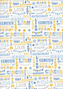 Craft Cotton Co - Carnival Circus Words Blue