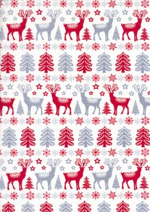 Craft Cotton Co - Christmas Scandi Stags Blue & Red