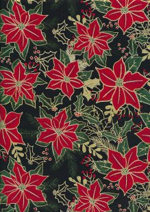 Craft Cotton Co - Christmas Traditional Poinsettia Black