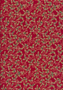 Craft Cotton Co - Christmas Holly Metallic Red