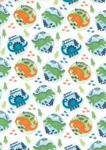Craft Cotton Co - Dinosaur Adventure Dinosaur in circles White