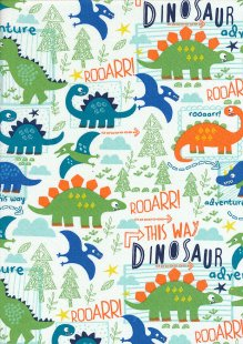 Craft Cotton Co - Dinosaur Adventure Dinosaur adventure White