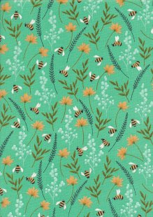 Craft Cotton Co - Bees Floral  Bees Floral Green